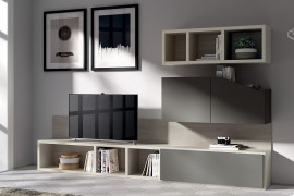 Modern minimal becomes the prominent style of the living room shelves 270x180 Flux Swing: Dynamic Living Room Compositions with Modular Ease