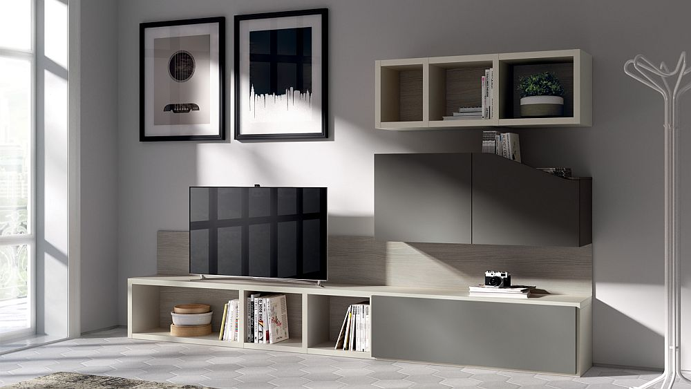 Modern minimal becomes the prominent style of the living room shelves