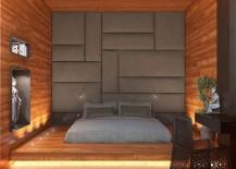 Modern minimal bedroom draped in wood