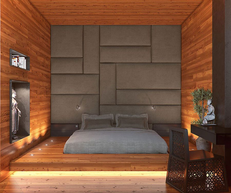 Modern minimal bedroom draped in wood
