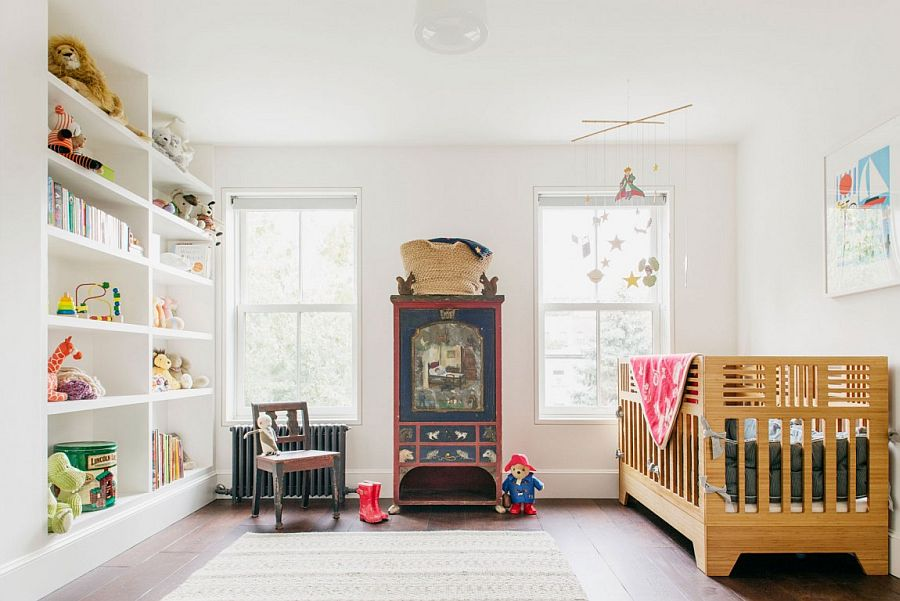 Modern nursery in white with a hint of vintage charm