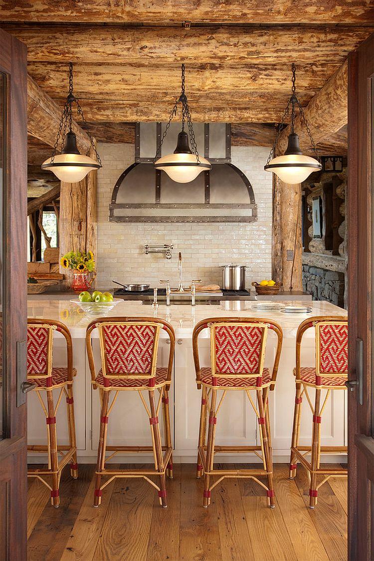 Modern rustic kitchen design with tiled backsplash