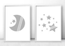 Moon and star nursery prints