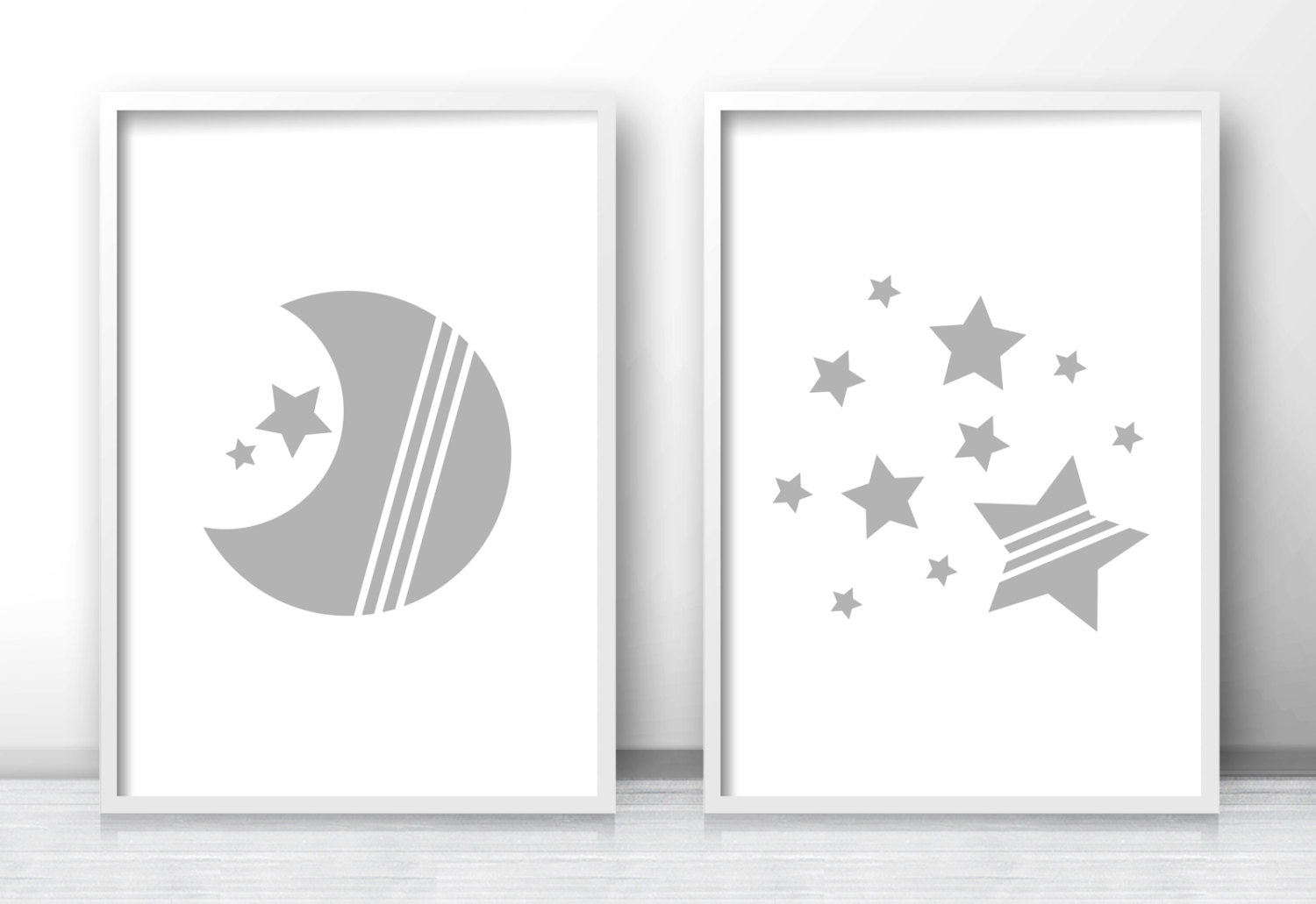 Moon and star nursery prints