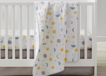 Moon star and sun crib bedding from The Land of Nod 217x155 Clouds, Stars, Sun and Moon: Celestial Nursery Motifs