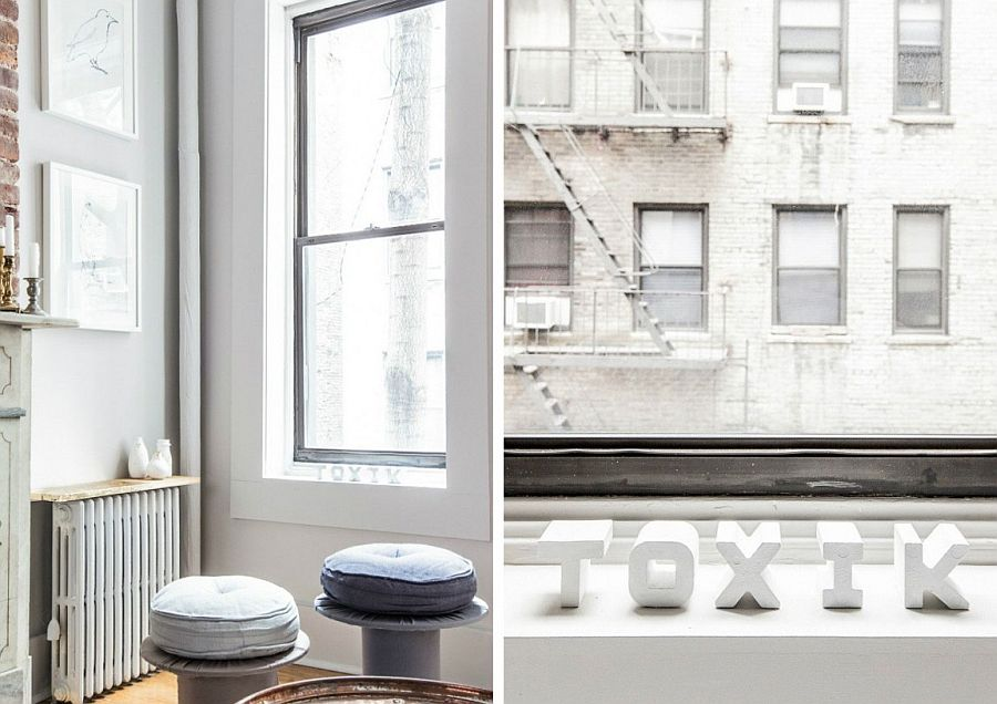 Old cable reels turned into low stools inside the apartment