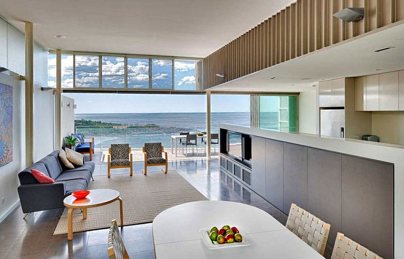 Open design of the living area makes most of the ocean view on offer