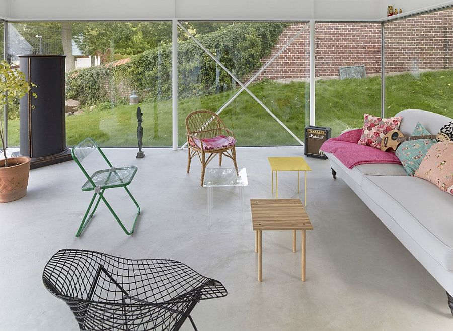 Open living area of the ingenious home in Sweden