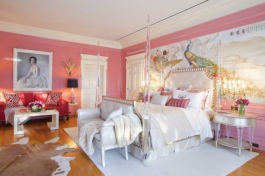 Opulent Victorian bedroom in pink [Design: Woodson & Rummerfield's House of Design]