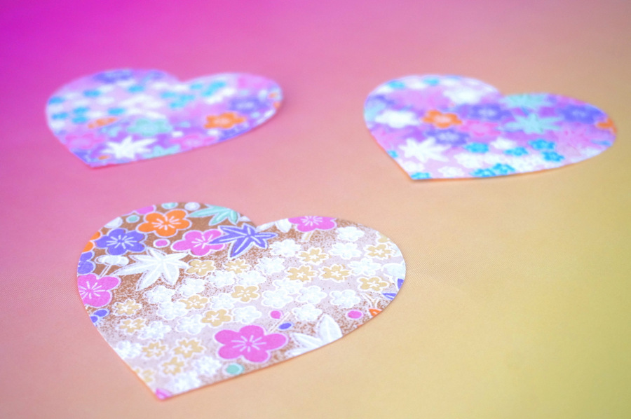 Origami paper hearts