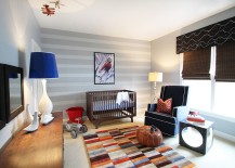 Oversized floor lamp makes a big visual statement in the eclectic nursery