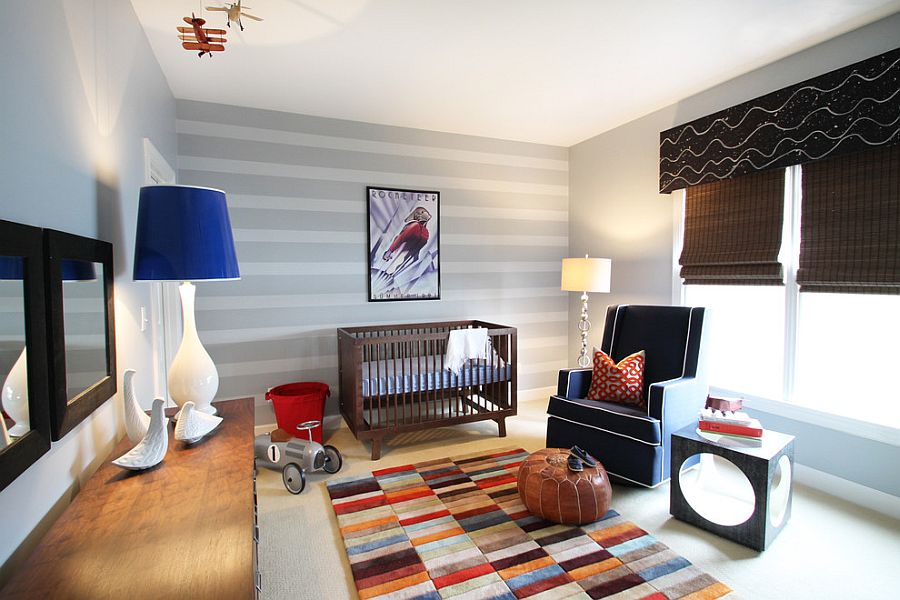 Oversized floor lamp makes a big visual statement in the eclectic nursery [Design: Lucy and Company]