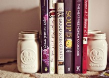 Painted mason jar bookends