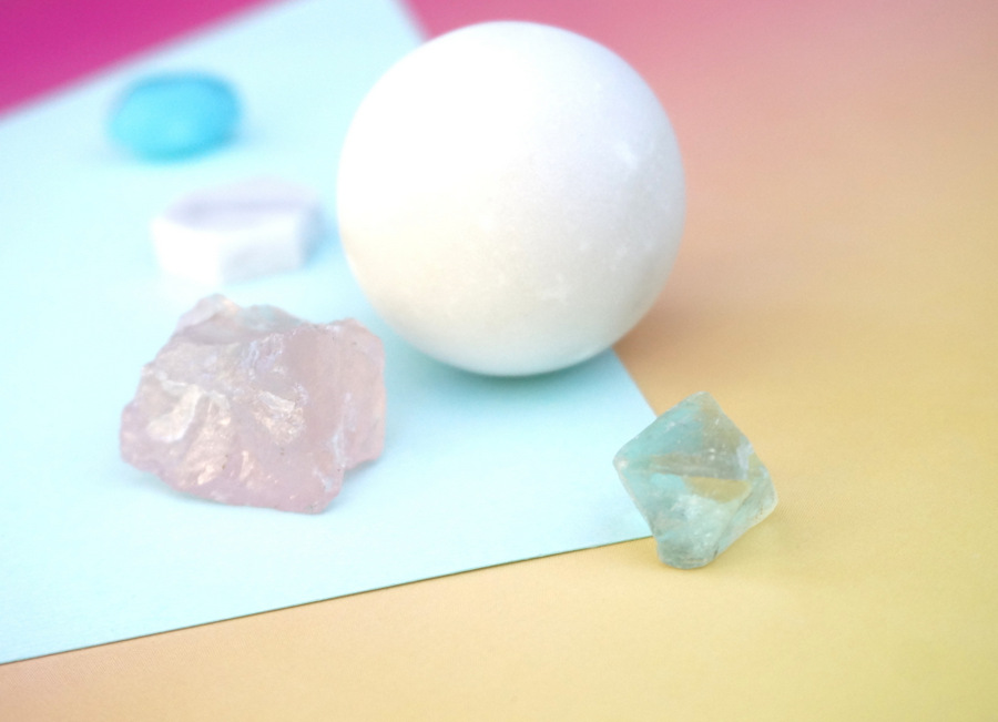 Pastel minerals and marble objects