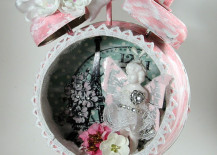 Pink and white angel-inspired altered alarm clock