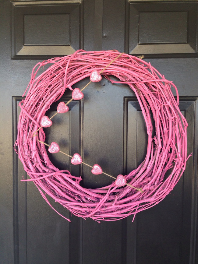 Pink grapevine wreath with hearts for Valentine's Day