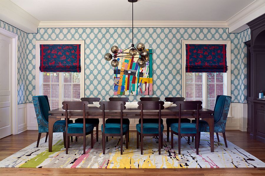 Play with different colors to create a vibrant dining room [Design: Andrea Schumacher Interiors]