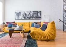 Plush Togo Sofa in bright yellow adds color to the sitting space 217x155 Project b95: Urban Infill Epitomizes Elegantly Cultural Diversity of Calgary