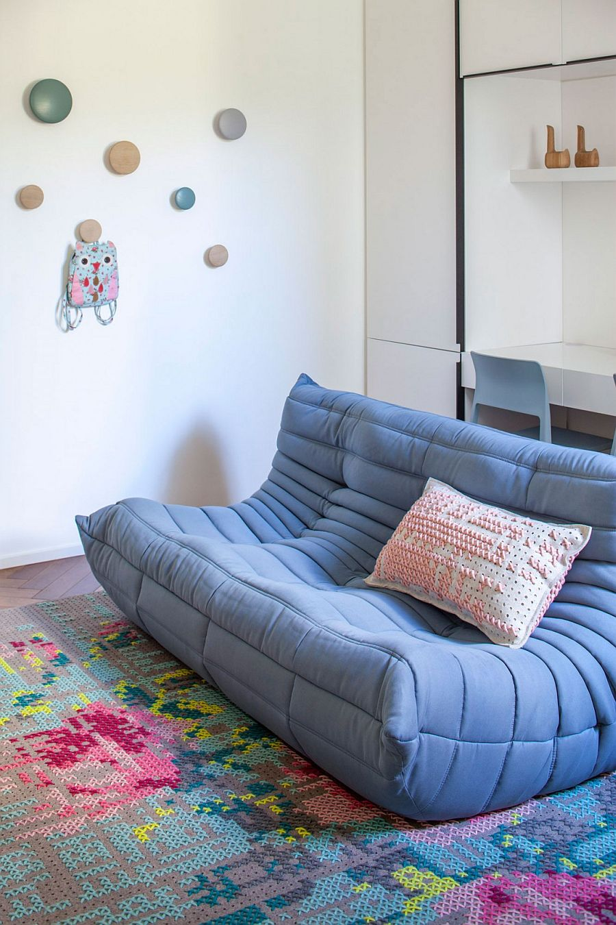 Plush Togo sofa in light blue in the home office