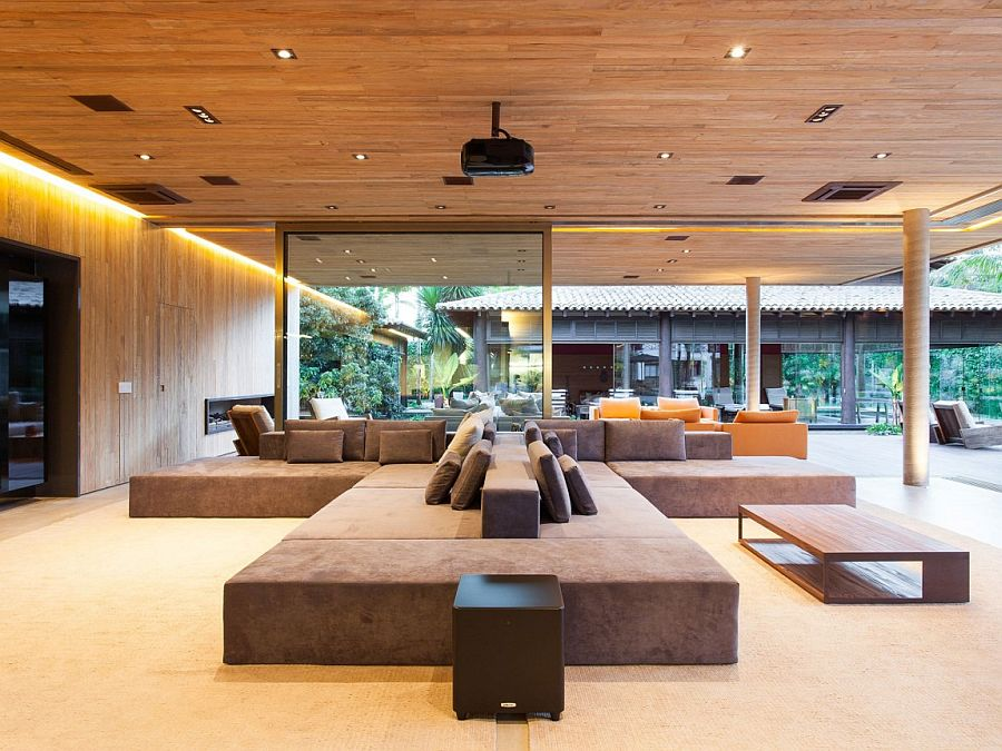 Plush modern seating inside the contemporary pavilion at Residence MZ