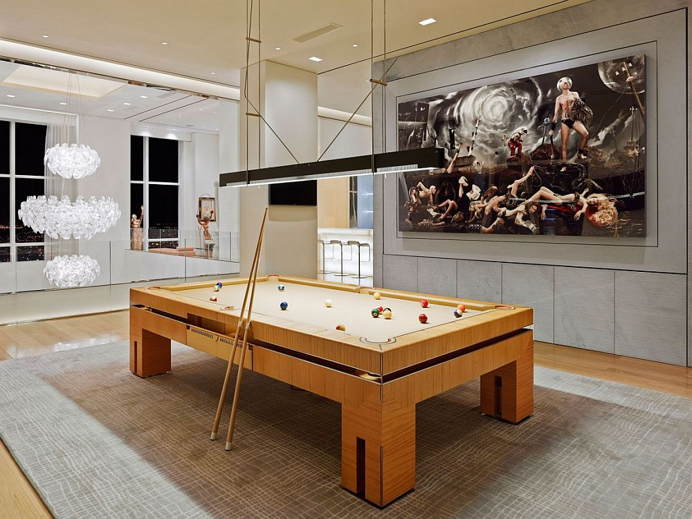 Pool room on the top level of the lavish New York City private residence