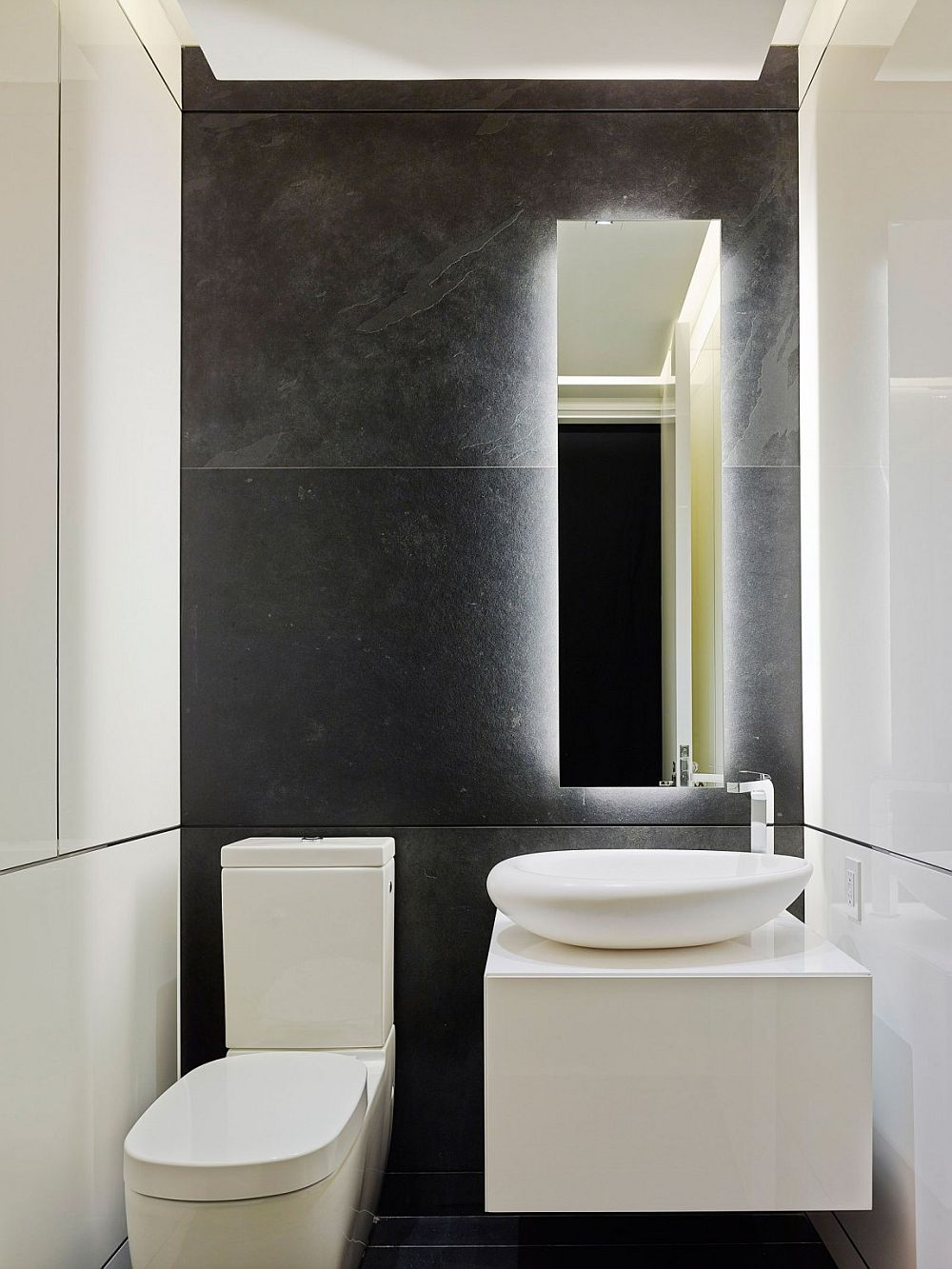 Powder in with a modern minimal style and white sink