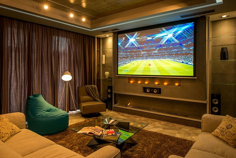 Projector, screen and speakers make up the smart entertainment unit