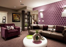 Purple adds refinement to the basement living room