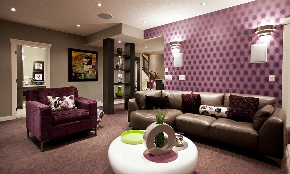 Purple adds refinement to the basement living room [Design: Urban Abode]