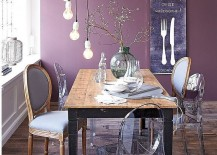Purple creates a sumptuous backdrop in the eclectic dining space