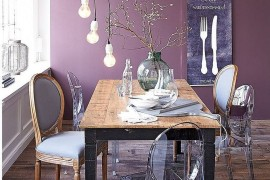 Purple creates a sumptuous backdrop in the eclectic dining space 270x180 Visual Feast: 25 Eclectic Dining Rooms Drenched in Colorful Brilliance!