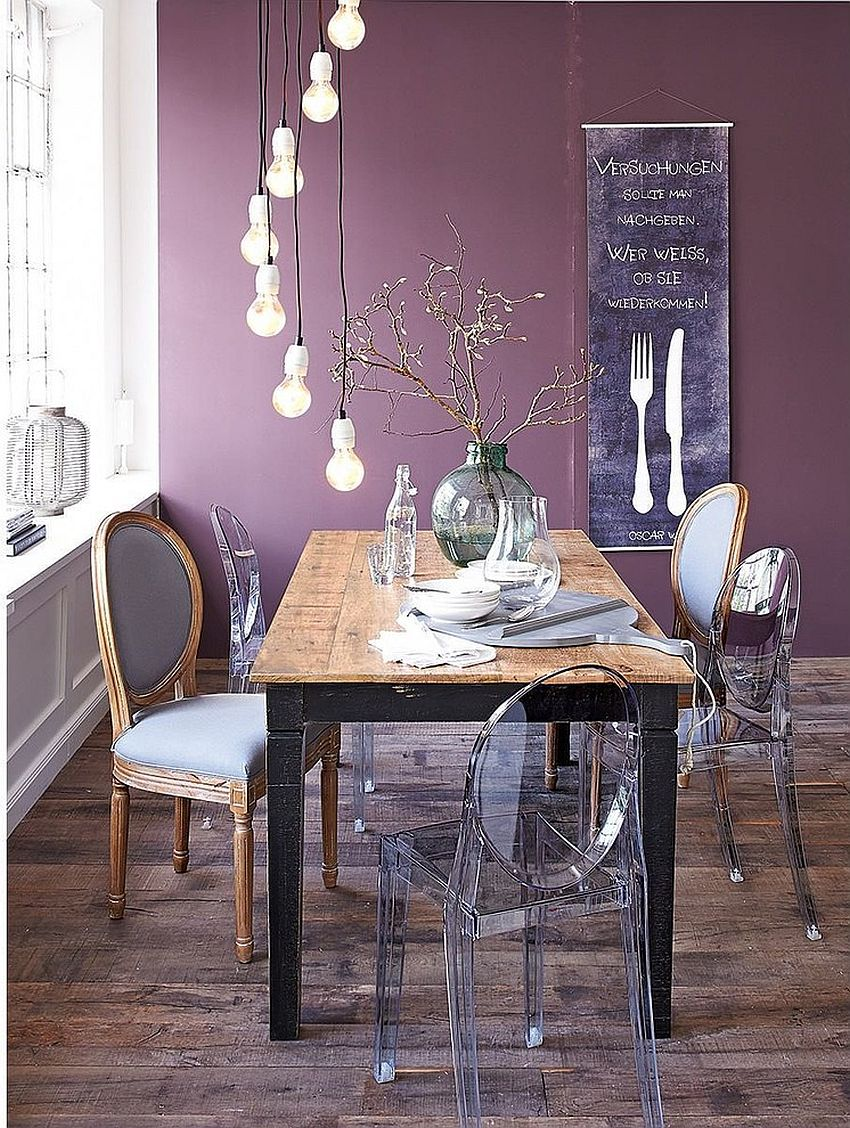 Purple creates a sumptuous backdrop in the eclectic dining space [From: Impressionen]