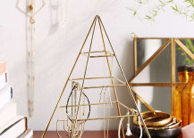 Pyramid jewelry stand from Urban Outfitters 217x155 Chic Jewelry Stands with Sculptural Style