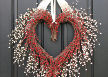 Red and white Valentine grapevine heart wreath