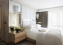 Reflective surfaces in an elegant bedroom