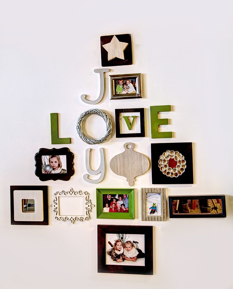 Relive those lovely moments beyond the holiday season with a family photo wall [Design: Mindi Freng Designs]
