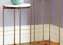 Rose gold pedestal tables from CB2