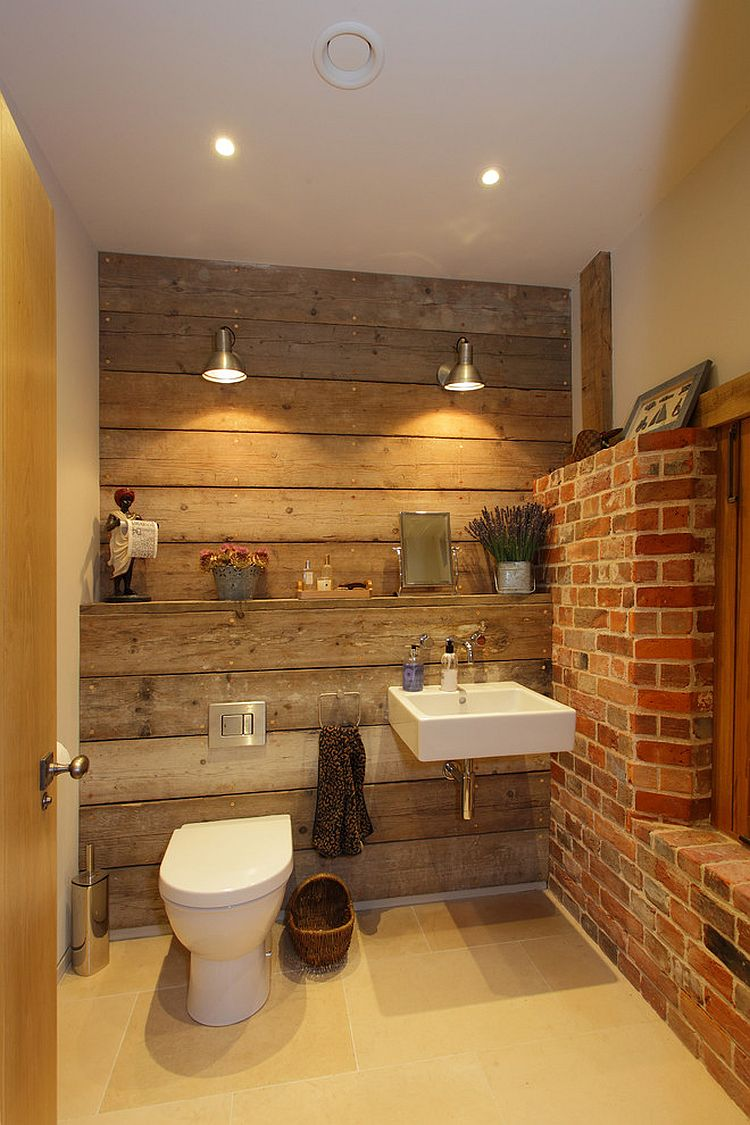 ... Rustic bathroom with reclaimed wood and exposed brick walls [Design:  Hampshire Light]