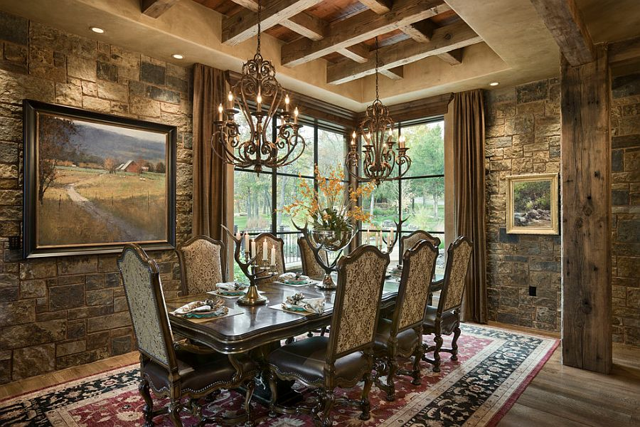 Rustic dining room with gorgeous stone walls and classy rug [Design: Locati Architects]