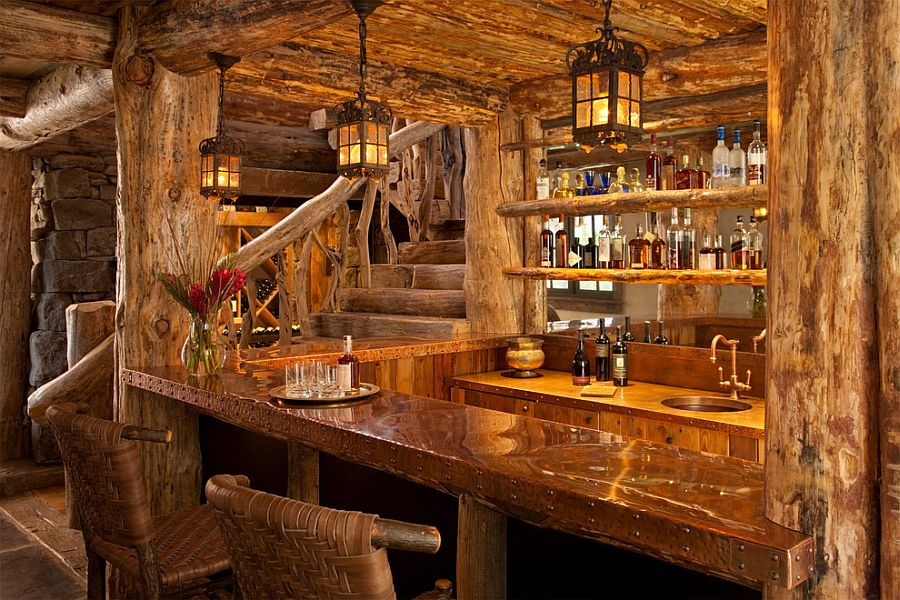Amazing views meet timeless charm at rustic mountain cabin - Rustic basement bar designs ...