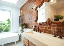 Satin finish coated brick wall in the bathroom brings both textural beauty and a hint of glitter 217x155 Rugged and Ravishing: 25 Bathrooms with Brick Walls