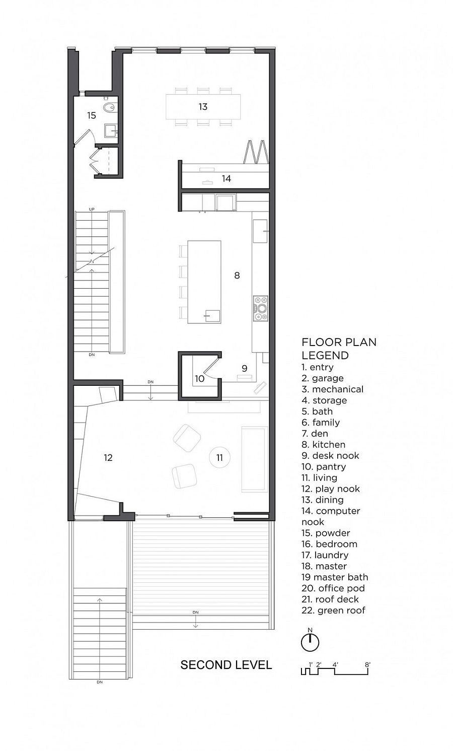 Second level floor plan of the house