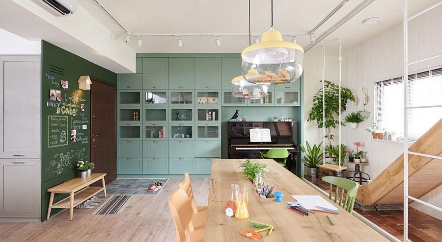Shelves in the family area and kitchen complement each other