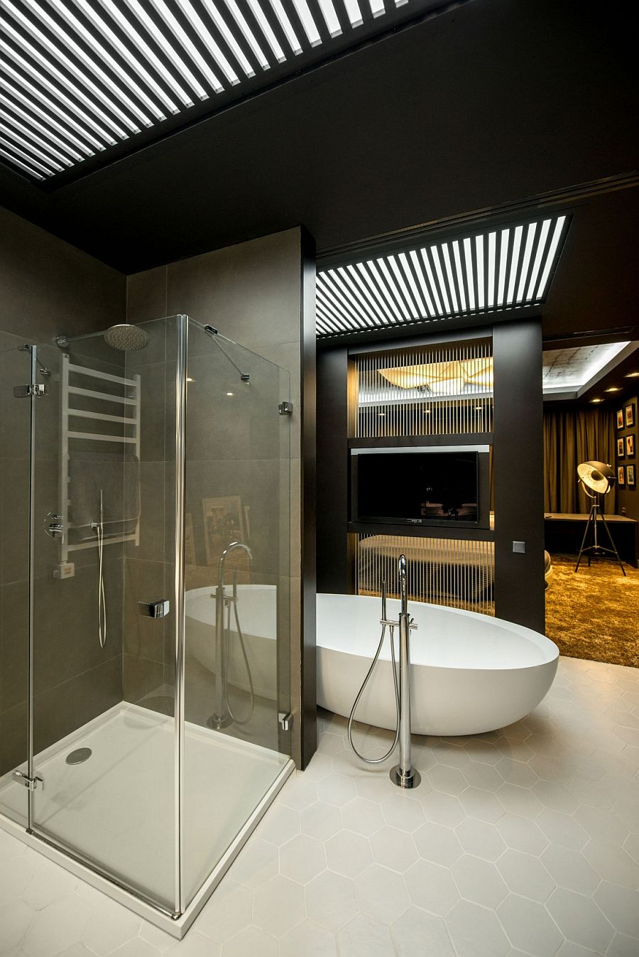 Shower area and bathtub connected to the bedroom