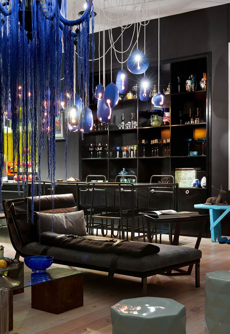 Signature lighting in stunning blue adds color to the neutral interior