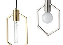 Silver and gold geo pendant lamps from CB2