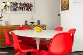 Sizzling Panton S chairs in red steal the show in this dining room 270x180 Visual Feast: 25 Eclectic Dining Rooms Drenched in Colorful Brilliance!
