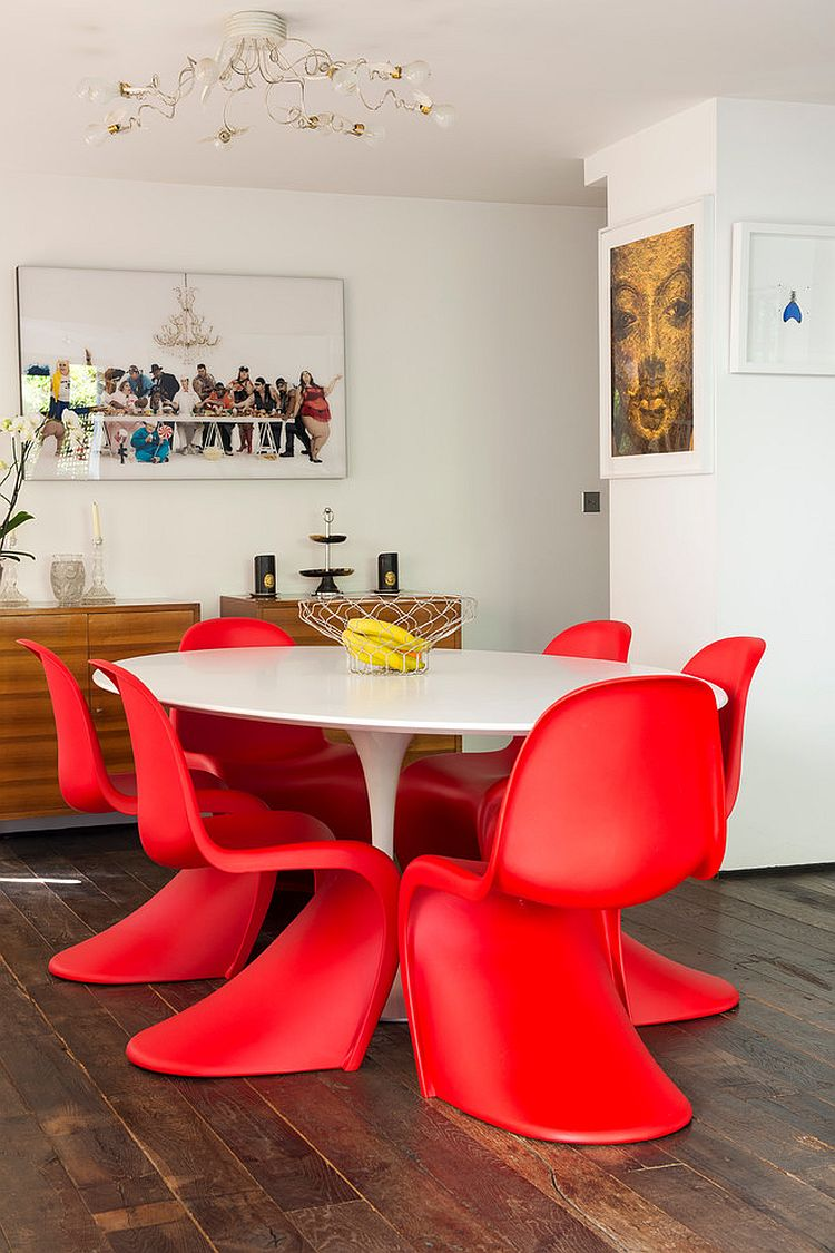 Sizzling Panton S chairs in red steal the show in this dining room [Design: MA3]