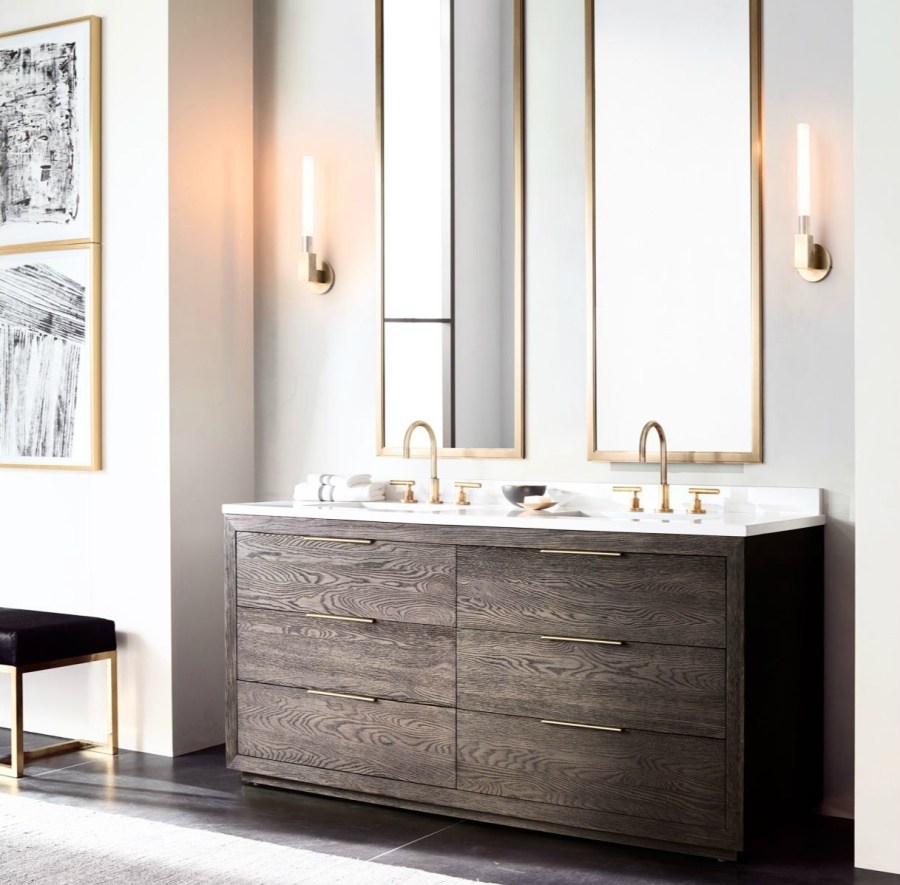 view in gallery sleek double vanity from rh modern. the luxury look of highend bathroom vanities