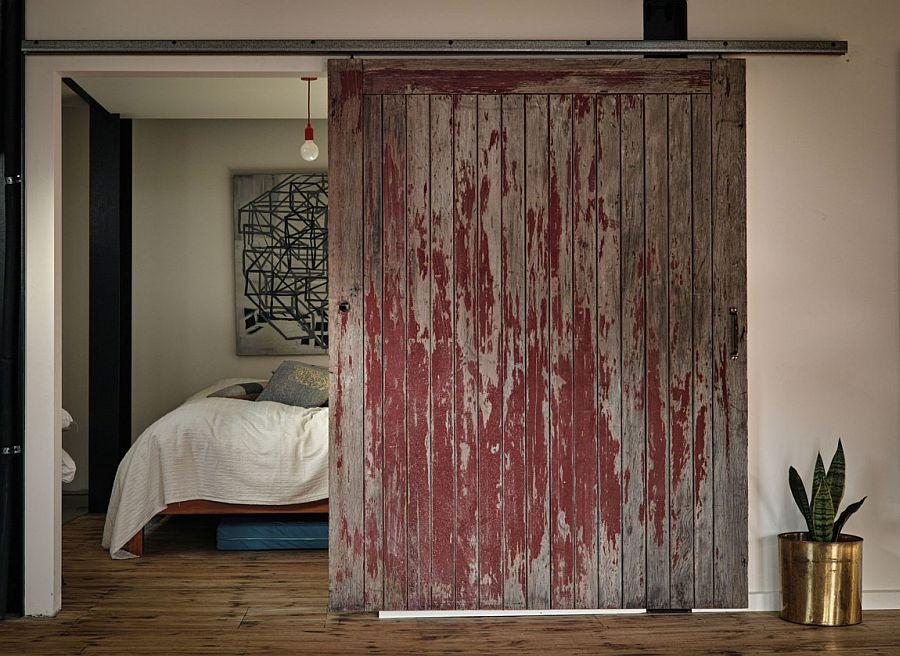 Sliding barn door entrance for the bedroom